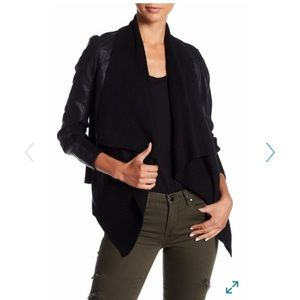 Blank NYC faux leather, ribbed drape front jacket